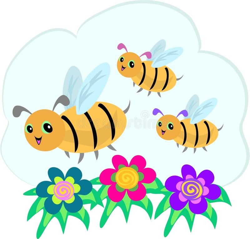 Three Bees and Three Spiral Flowers. These three Bees are happily flying over some colorful spiral flowers vector illustration