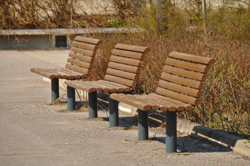 Three benches stock images