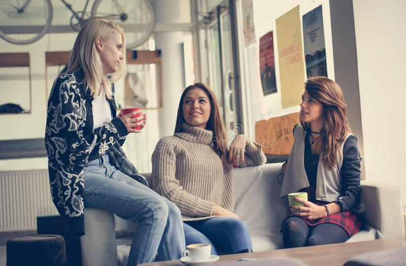 Three best friends. Young women having conversation. stock photo