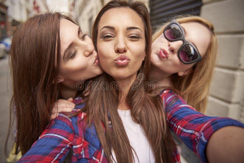 Three best girlfriends stock images