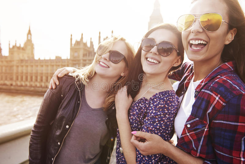 Three best girlfriends in London stock photography