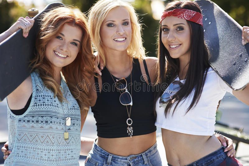 Three best girlfriends royalty free stock images