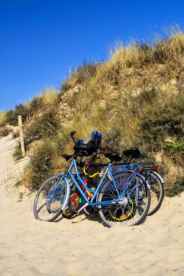 Three bicycles parked against sand dunes. Three colorful bicycles parked against sand dunes by the beach in Holland royalty free stock image