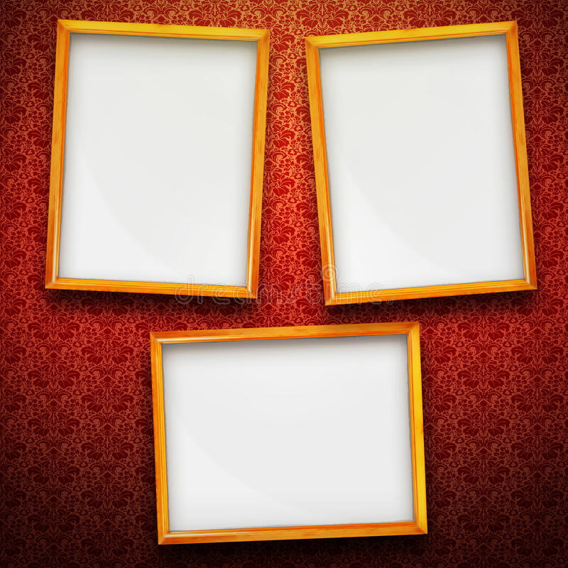 Three Big Frames On Vintage Background Stock Illustration ...