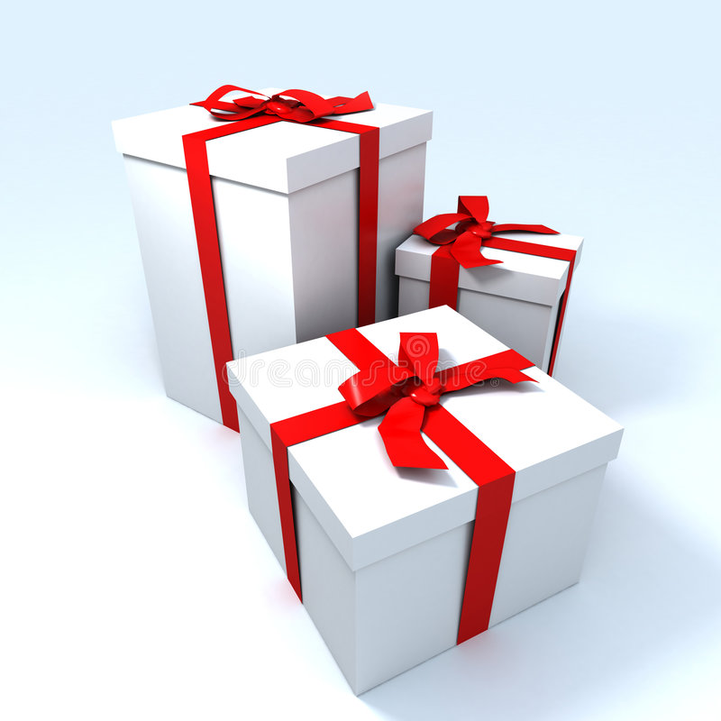 Three big white presents stock images