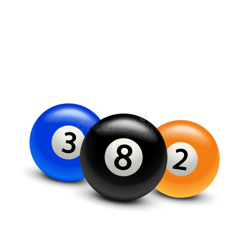 Three billiard balls. Illustration of three billiard balls with soft realistic shadows on white background stock illustration