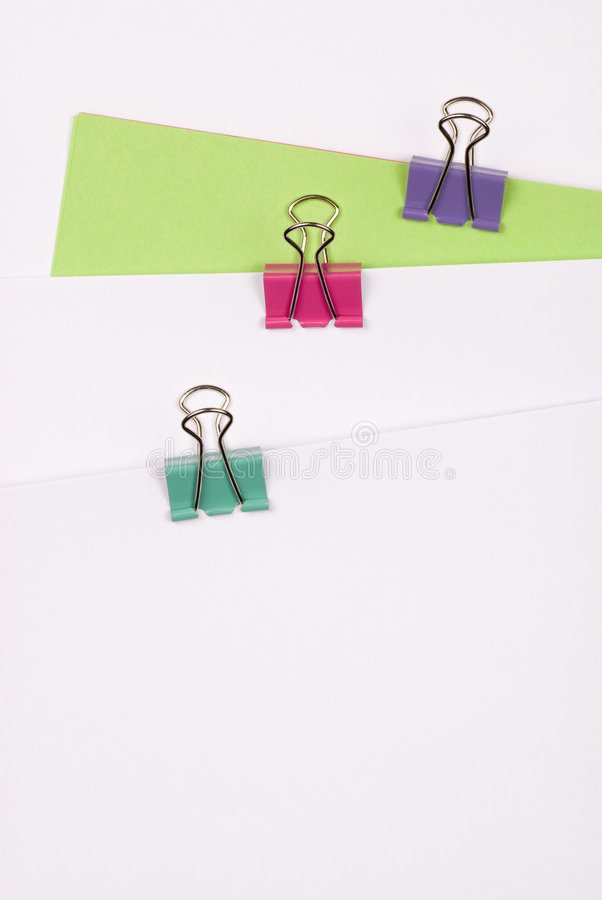 Three Binder Clips stock photo