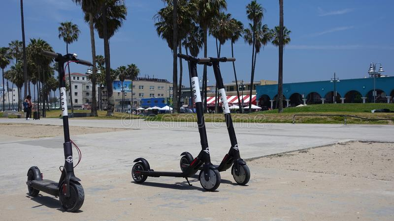 Three BIRD scooters on Venice Beach royalty free stock image