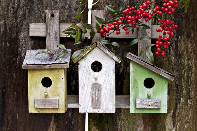 Download Three Birdhouses On Old Fence Stock Image - Image: 34309225