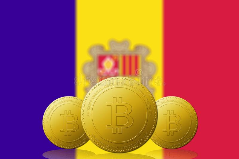 Three Bitcoins cryptocurrency with ANDORRA flag on background vector illustration