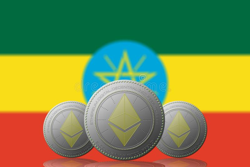 Three Bitcoins cryptocurrency with Ethiopia flag on background royalty free illustration