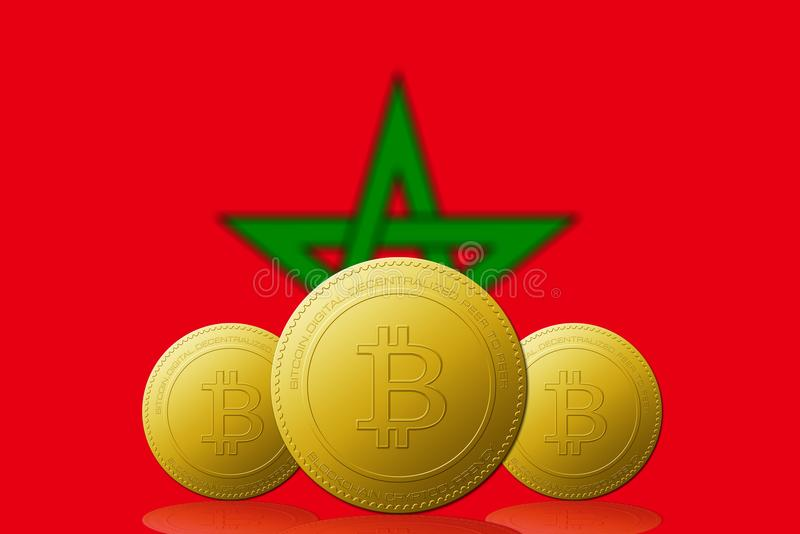 Three Bitcoins cryptocurrency with Morocco flag on background vector illustration
