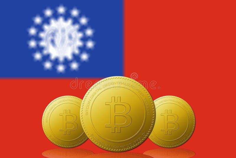 Three Bitcoins cryptocurrency with Myanmar flag on background vector illustration