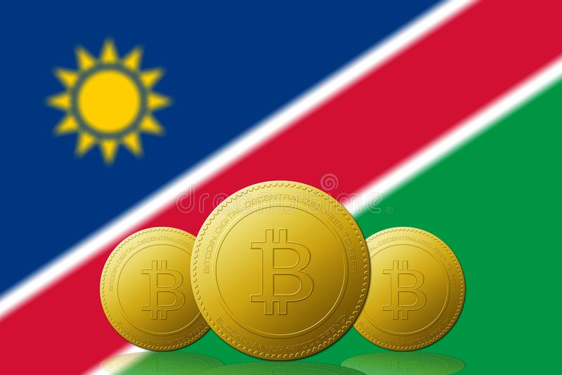 Three Bitcoins cryptocurrency with Namibia flag on background vector illustration