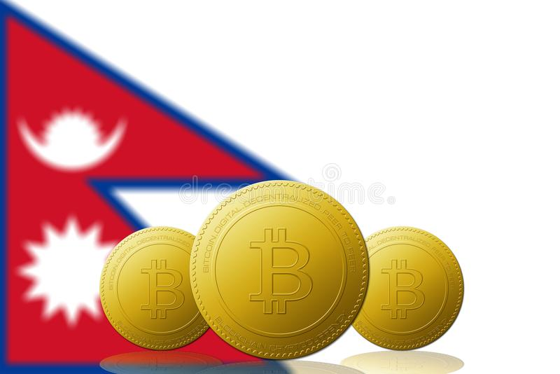 Three Bitcoins cryptocurrency with Nepal flag on background stock illustration