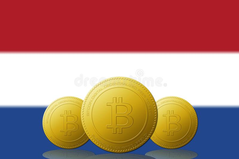 Three Bitcoins cryptocurrency with Netherlands flag on background royalty free illustration