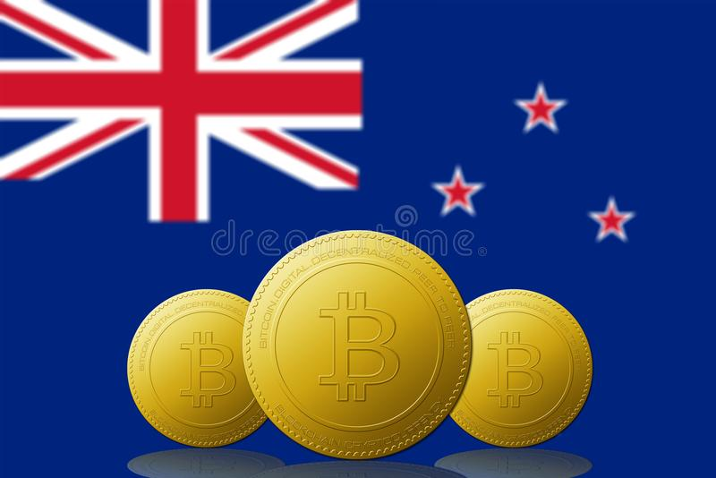 Three Bitcoins cryptocurrency with New Zealand flag on background stock illustration