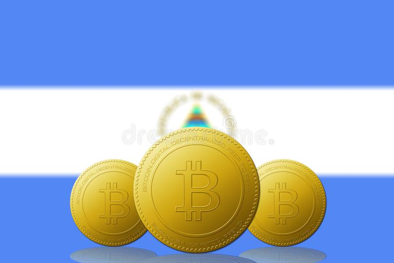 Three Bitcoins cryptocurrency with Nicaragua flag on background vector illustration