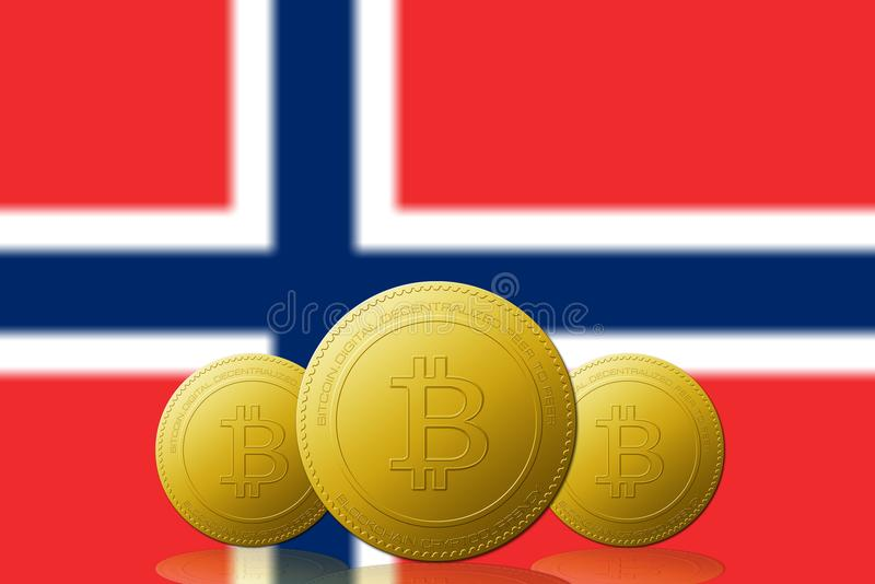Three Bitcoins cryptocurrency with Norway flag on background vector illustration