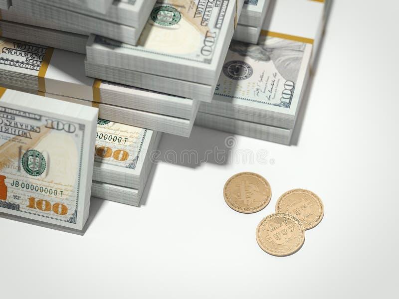 Three bitcoins. 3d rendering royalty free illustration