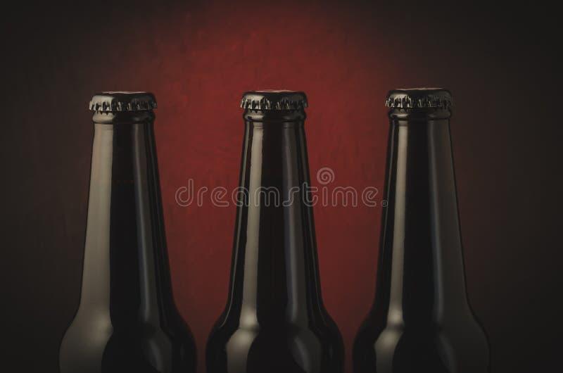 Three black bottle of beer on a dark background with red light/Three black bottle of beer on a dark background with red light. stock image