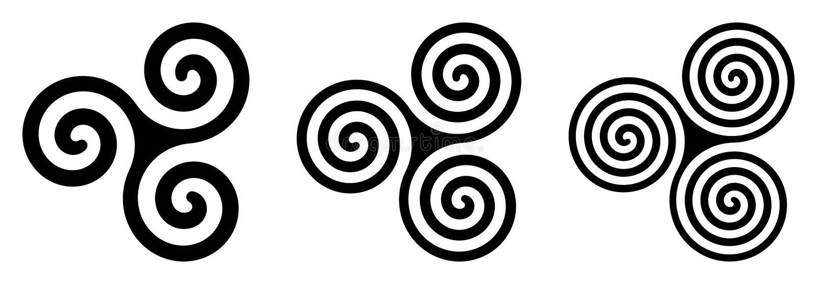 Three black celtic triskelion spirals over white. Triple spirals with two, three and four turns. Motifs of twisted and connected spirals, exhibiting rotational stock illustration