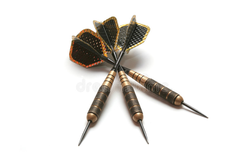 Three black darts. Three shabbed black darts isolated on white royalty free stock images