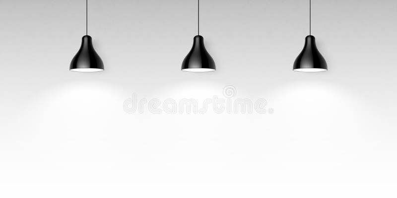 Three black hanging ceiling lamps stock illustration