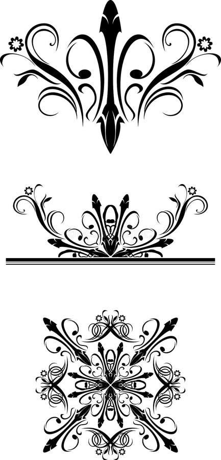 Download Three Black Ornamental Elements Stock Photo - Image: 28143610