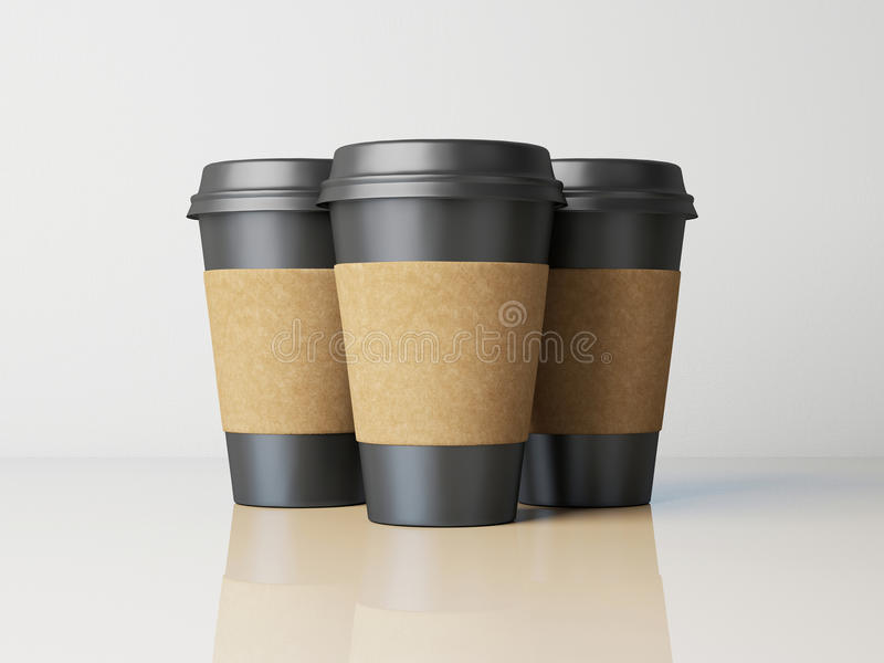 Three black paper cups royalty free illustration