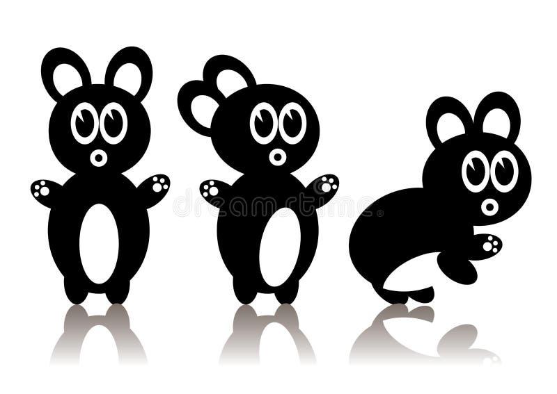 Three Black Rabbits Royalty Free Stock Photography