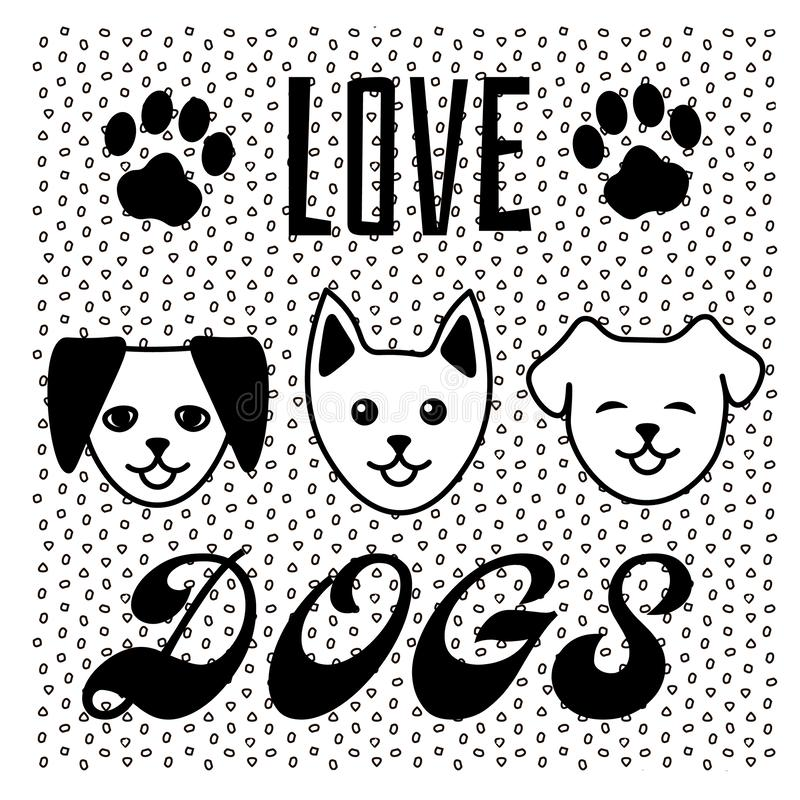 Dog Paw Print Tattoo Writing: Set Of Love Lettering And Paw Print Stock Vector
