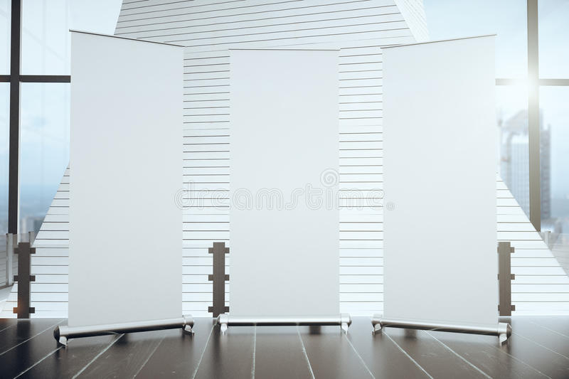 Three blank banners in a modern interior vector illustration
