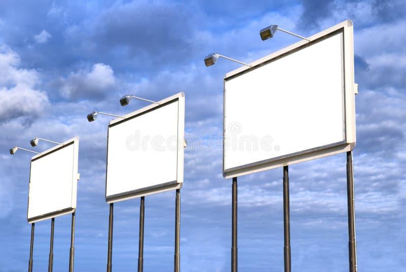 Three blank billboard stock photography
