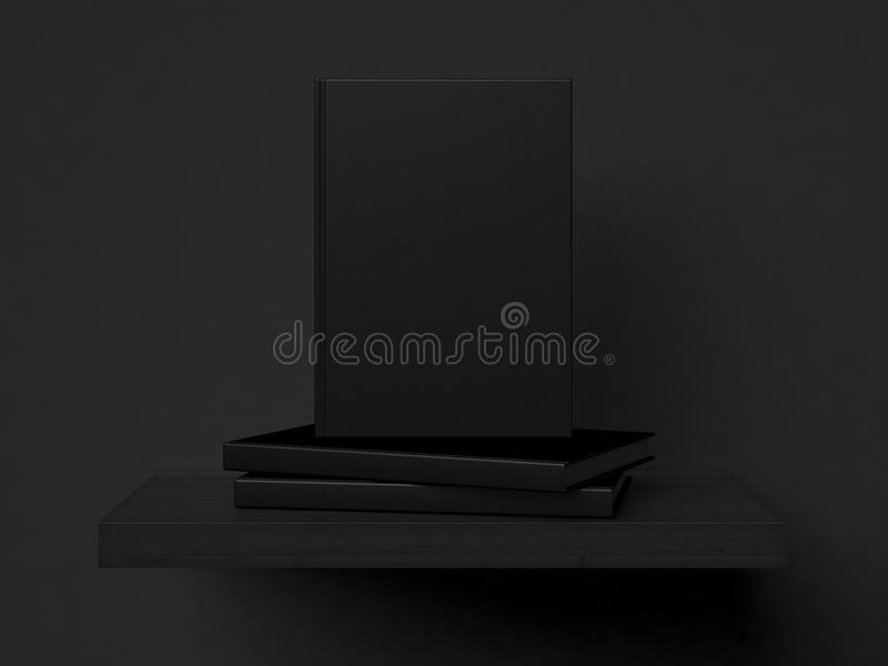 Three blank books on a shelf. 3d rendering vector illustration