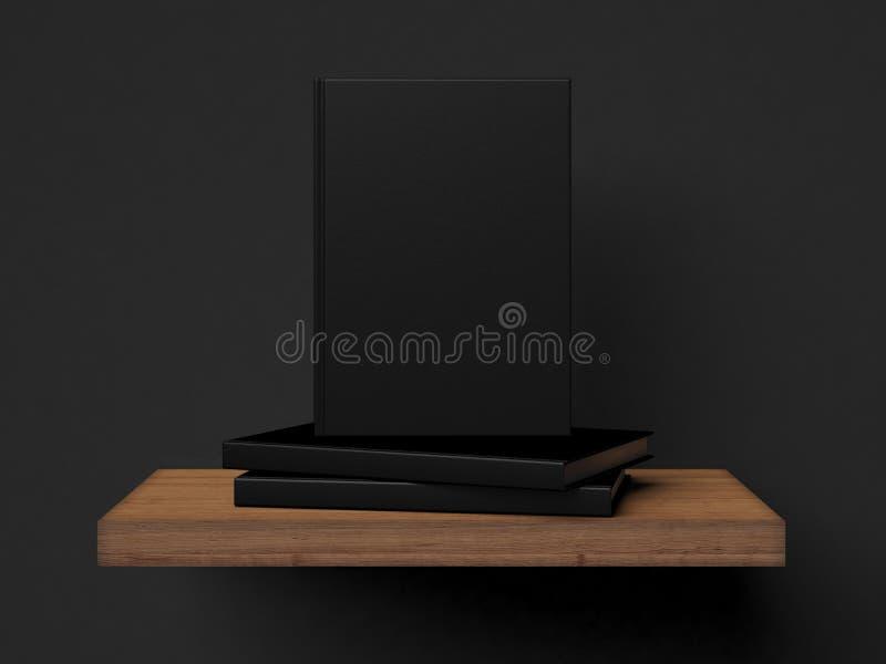 Three blank books on a wooden shelf. 3d rendering stock illustration