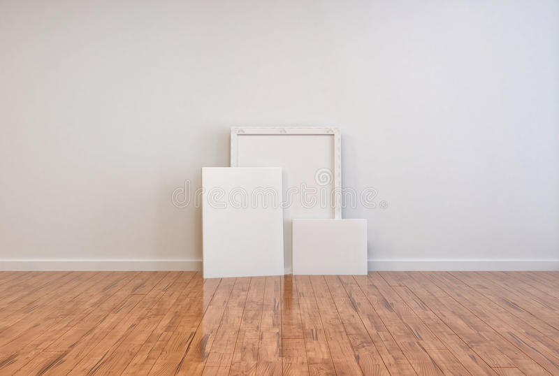 Three blank canvases and frames on a wooden floor stock illustration