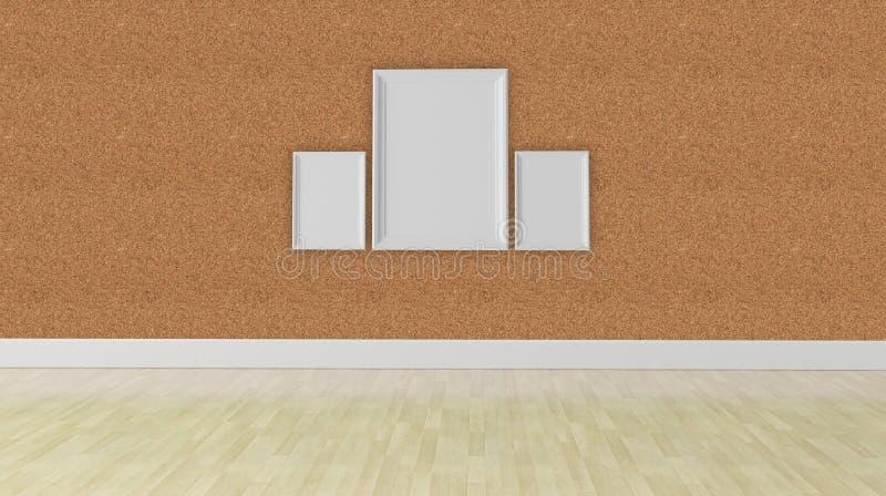 Three blank frame concept, corkboard wall texture. Three blank frame on a corkboard wall texture