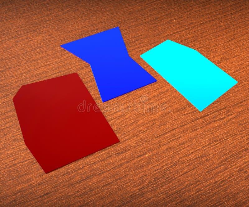 Three Blank Paper Slips Show Copyspace. Three Blank Paper Slips Showing Copyspace For 3 Letter Word royalty free illustration