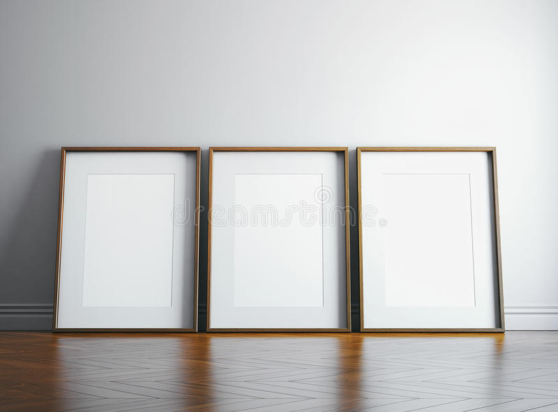 Three blank picture frame and sunlight on a wall. 3d render royalty free illustration
