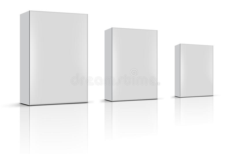 Three Blank Product Boxes Stock Images