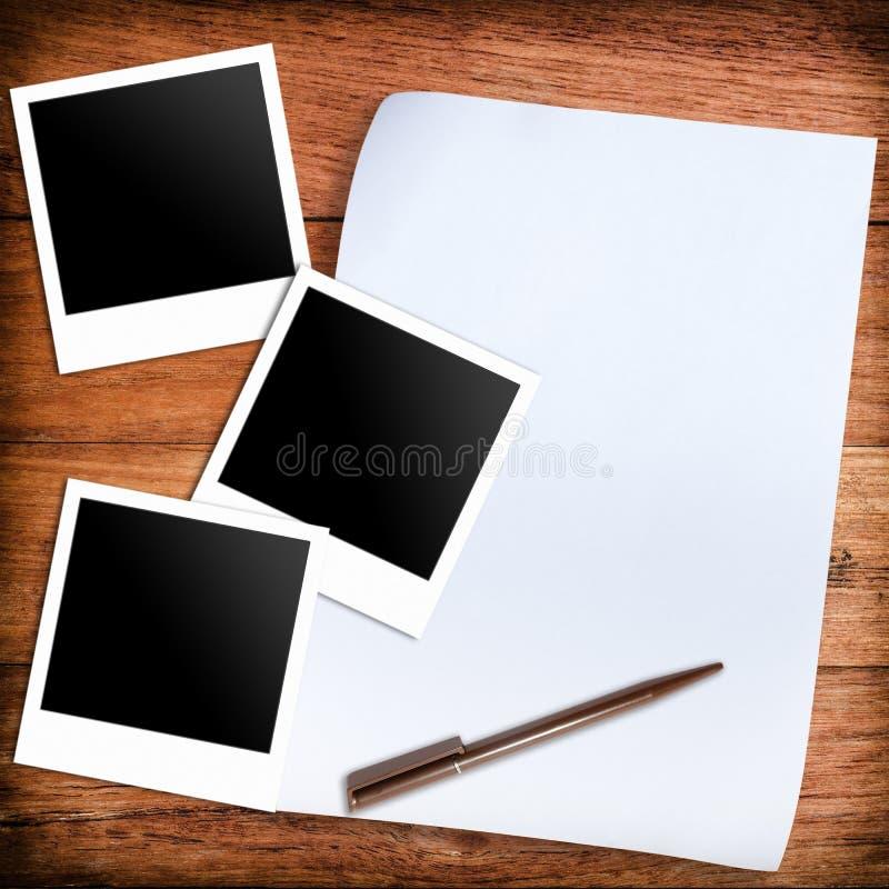 Three blank retro polaroid photo frames and white paper and pen vector illustration