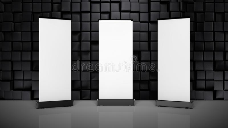 three blank rollup mockups for banding. royalty free illustration