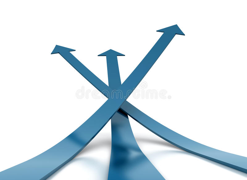 Three Blue Arrow - Competition Concept Stock Photography