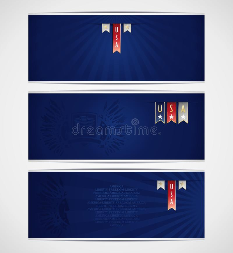 Download Three Blue Banner Template With Ribbons And Americ Stock Vector - Image: 34451612