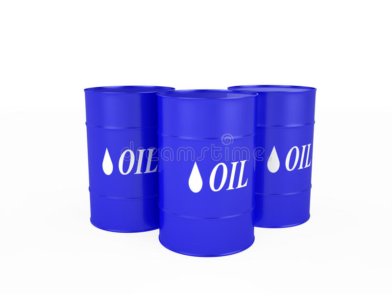 Three blue barrels with the oil. Isolated on the white vector illustration