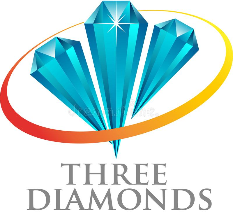 Three blue diamond vector illustration