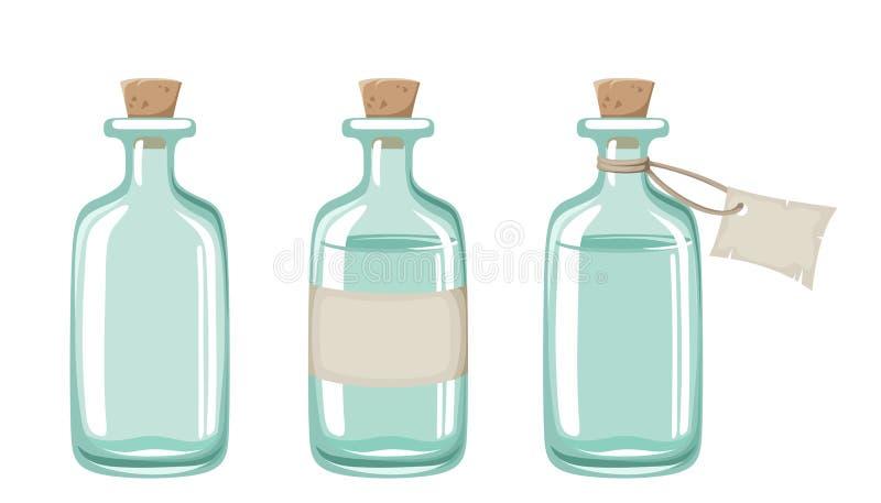 Three blue glass bottles. Vector illustration. vector illustration