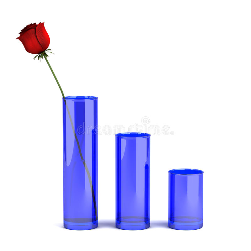 Three blue glass vases with rose isolated on white royalty free stock photos