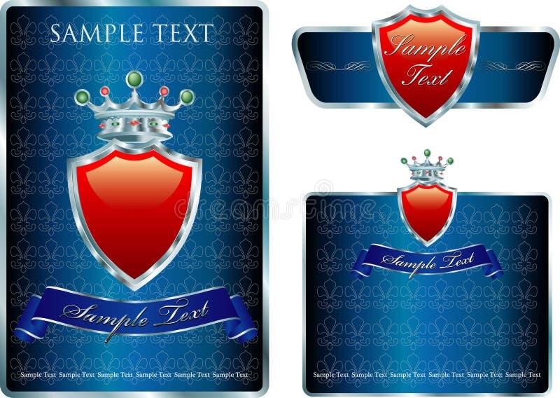 Three blue labels vector illustration